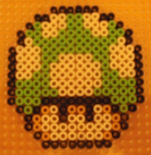 Green Mushroom Hama Bead Pattern