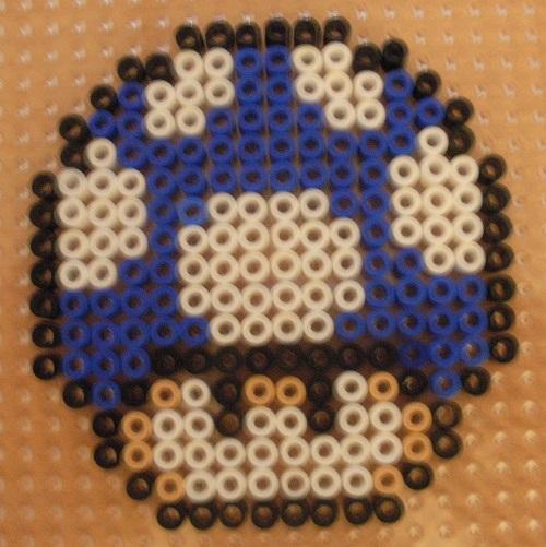 Blue Mushroom Hama Bead Pattern
